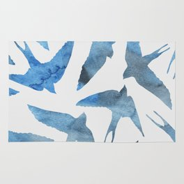 Watercolor birds - sapphire ink Rug