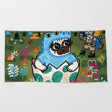 What Came First The Pug Or The Egg? Beach Towel
