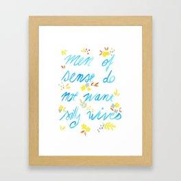 Men of sense do not want silly wives - Blue & Yellow Palette Framed Art Print