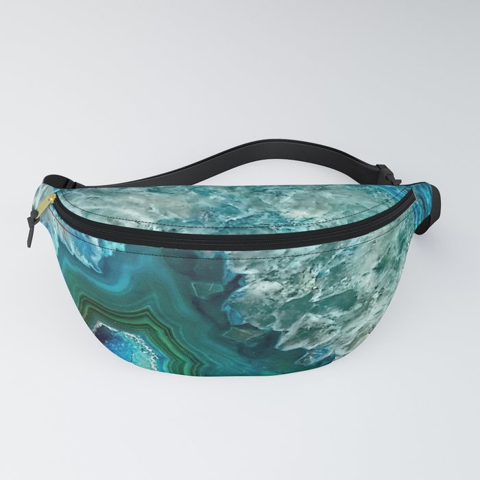 Aqua turquoise agate mineral gem stone Fanny Pack