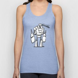Happy Robot and his Blaster Unisex Tank Top