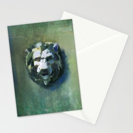 Lion Head Green Marble Stationery Cards