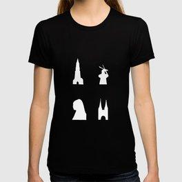 Delft silhouette on black T-shirt