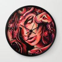 medusa Wall Clocks featuring Medusa by Justin sola