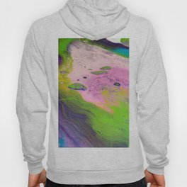 Fluid Art Acrylic Painting, Pour 14, Purple, Green, Pink & Blue Blended Colors Hoody