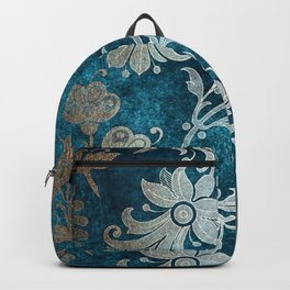 Aqua Teal Vintage Floral Damask Pattern Backpack