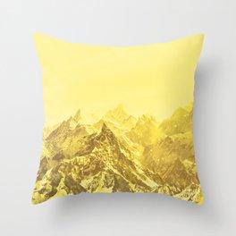 Mountains Yellow Throw Pillow