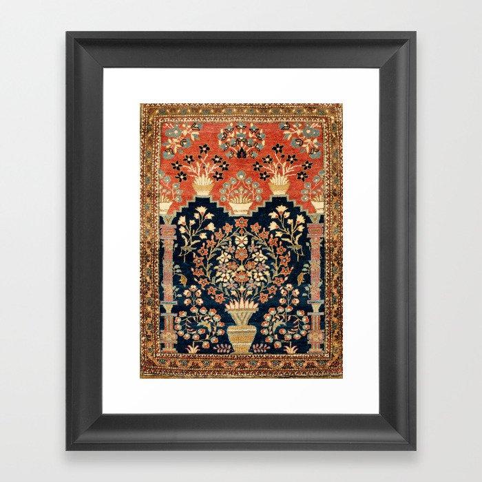 Kashan Poshti  Antique Central Persian Rug Print Gerahmter Kunstdruck