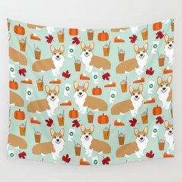Corgi - Pumpkin Spice, psl, coffee, latte, pumpkin pie,  fall, autumn, holiday, Wall Tapestry
