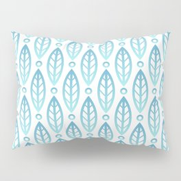 Contemporary Leaf and Circle Pattern Turquoise Blue Ombre Pillow Sham
