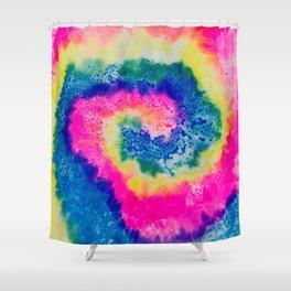 Rainbow Hypno Spiral Shower Curtain