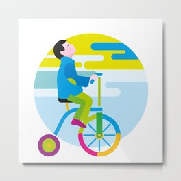 Boy on a winged bicycle. Autumn Metal Print