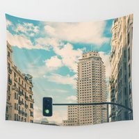 madrid Wall Tapestries featuring Green light for Madrid by Conundrum Arts