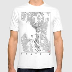 Seattle Map Schwarzplan Only Buildings Mens Fitted Tee MEDIUM White