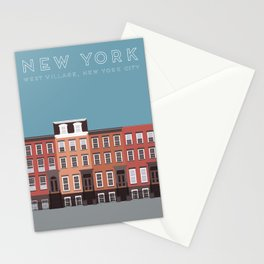 New York City, NYC, West Village Travel Poster Stationery Cards
