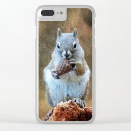Squirrel with a Pine Cone Clear iPhone Case