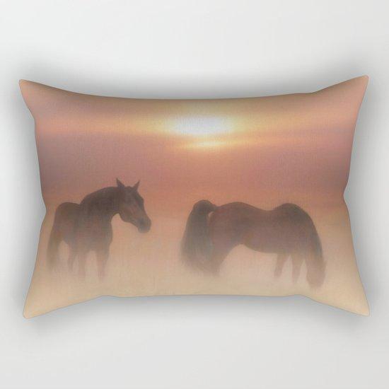 Horses in a misty dawn Rectangular Pillow