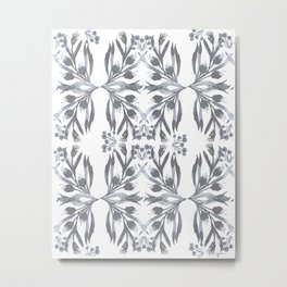 Indigo Traditional Motif Metal Print