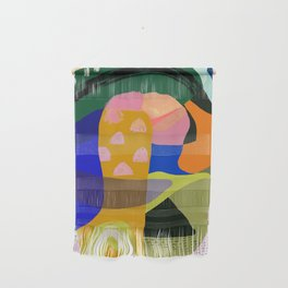Shapes and Layers no.20 - Abstract painting olive green blue orange black Wall Hanging
