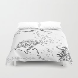 Two Tailed Duck and Jellyfish White Duvet Cover