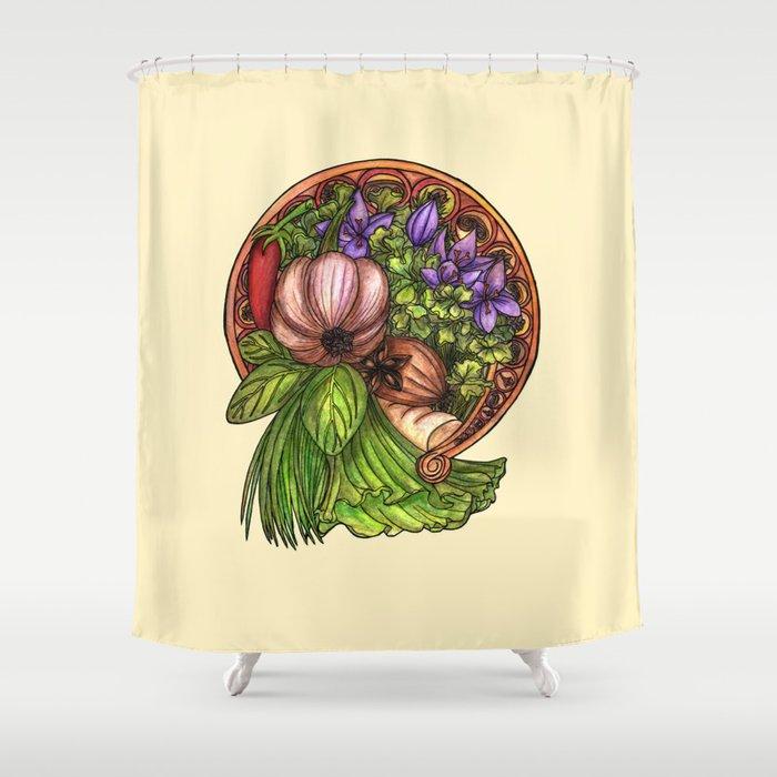 Art nouveau vegetables Shower Curtain