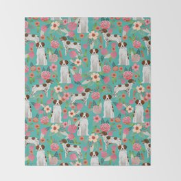 Brittany Spaniel florals pattern dog gifts for dog lovers cute puppies pet portrait Throw Blanket