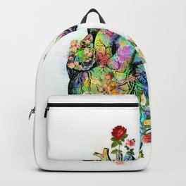 Flowers colorful heart watercolor Backpack