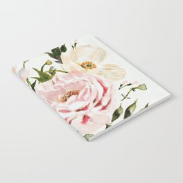 Loose Peonies & Poppies Floral Bouquet Notebook