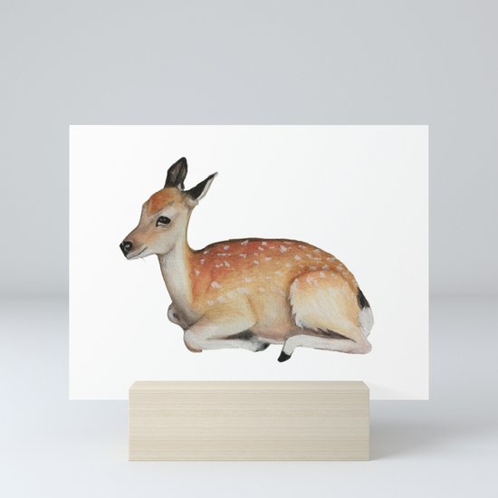 Deer Fawn Illustration Mini Art Print by enchantedmonsters ...