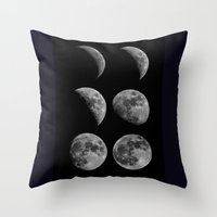 moon phases Throw Pillows featuring Moon Phases by Astrophotos by McLeod