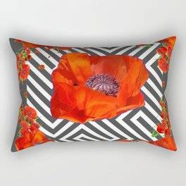 AWESOME GREY GRAPHIC ART YELLOW-RED POPPIES GARDEN Rectangular Pillow