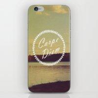 carpe diem iPhone & iPod Skins featuring Carpe Diem  by Rachel Burbee