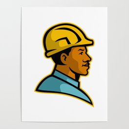 African American Construction Worker Mascot Poster