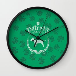 St. Patrick's Day Bull Terrier Funny Gifts for Dog Lovers Wall Clock
