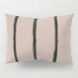 Skinny Strokes Gapped Vertical Black on Nude Pillow Sham