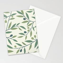 Olive Tree Branches, Oil Hand-painted Stems, Repeat Botanical Pattern in Green Tones, Petroleum and Light Beige Color, Beautiful Paint Texture Stationery Cards