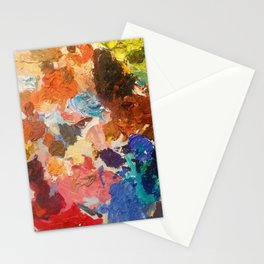 An artist's palette, all the colors of the rainbow, oil paint Stationery Cards