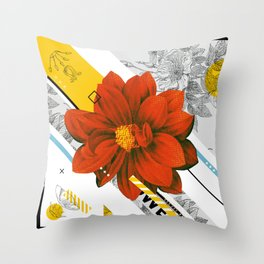 red flower collage Throw Pillow