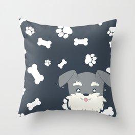 PupPrints - Mini Schnauzer Throw Pillow