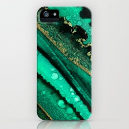 Malachite inspired alcohol ink painting with flecks of gold and hints of black and emerald green iPhone Case