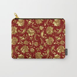 Dark Red & Gold Floral Damasks Pattern Carry-All Pouch