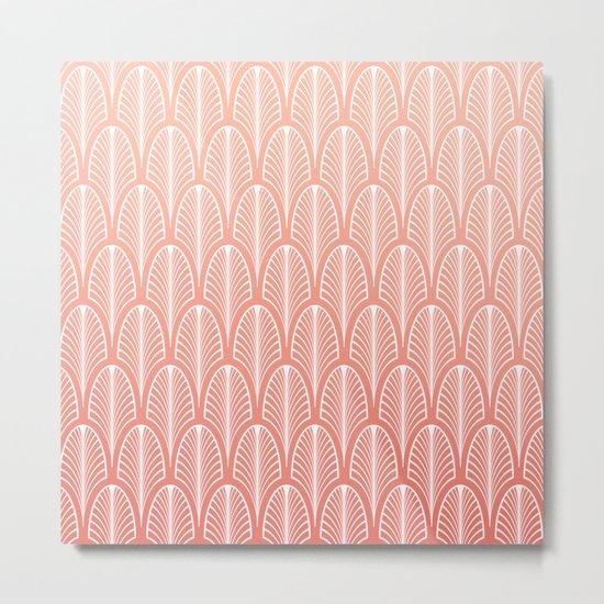 Peach Art Deco Pattern | Blush Pink Art Metal Print