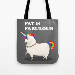 Fat unicorn with rainbow mane and flowers Tote Bag