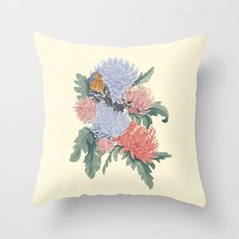 finch and mums Throw Pillow