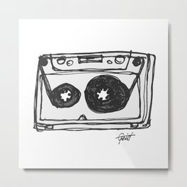 """Tape"" Hand Drawn Cassette Black / Clear Metal Print"