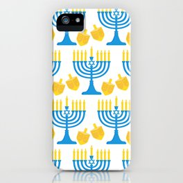 Hanukkah Bright Candles Menorah and Chic Dreidel Pattern iPhone Case