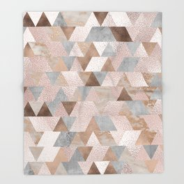 Copper and Blush Rose Gold Marble Triangles Throw Blanket