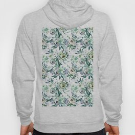 Country white green rustic watercolor floral Hoody