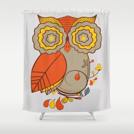 Abstract Colorful Floral Owl, Cute Owl Sticker, Terracotta Colors, Orange Yellow Gray And  Brown Shower Curtain