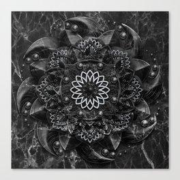 Black Marble Mandala Canvas Print